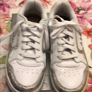 Worn once, Baby Phat leather and silver sneakers